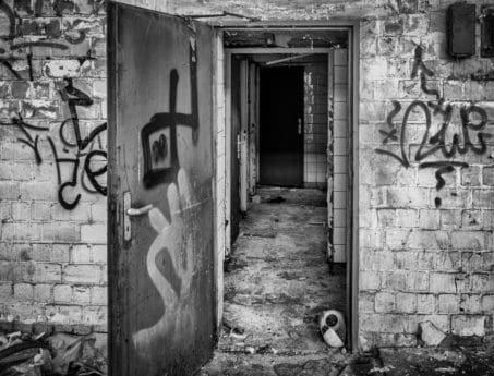 house, door, doorway, architecture, monochrome, outdoor, graffiti