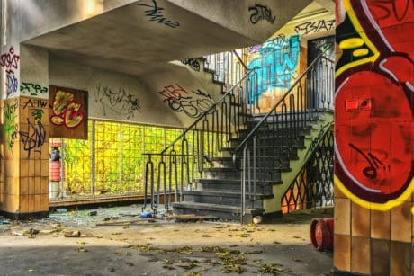 graffiti, street, stairs, city, urban, colorful