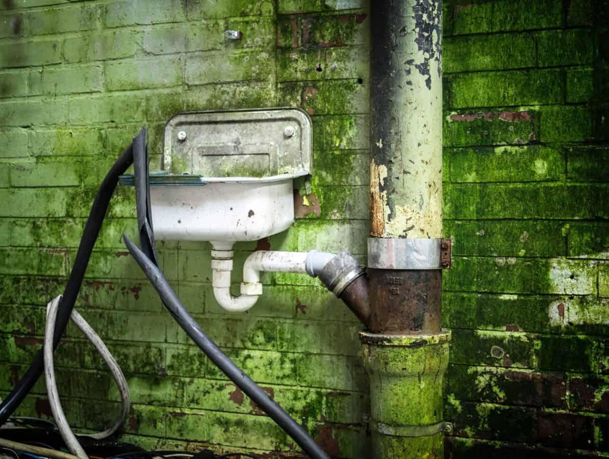 fregadero, aguas residuales, pared, objeto viejo, ladrillo,