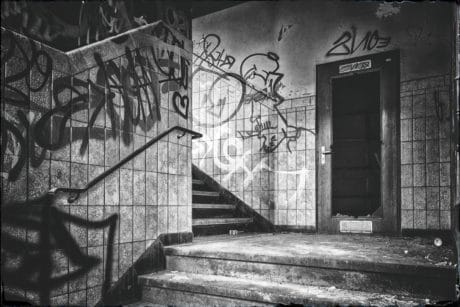 buildings, monochrome, stairs, graphite, vandalism