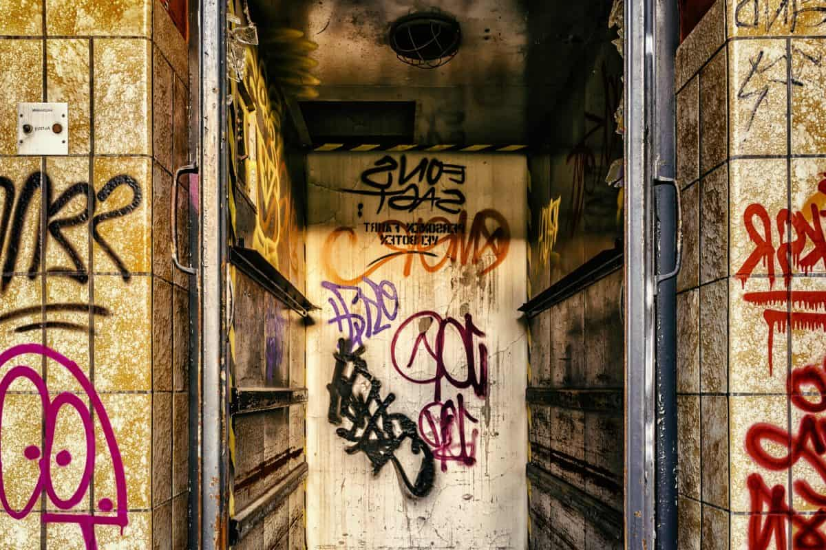 arte, architettura, graffiti, urbana, via, muro, vecchio