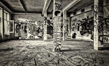 edifici, monocromatico, vecchio, grafite, vandalismo