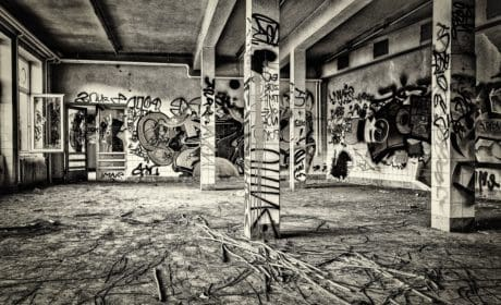 clădiri, monocrom, vechi, grafit, vandalism