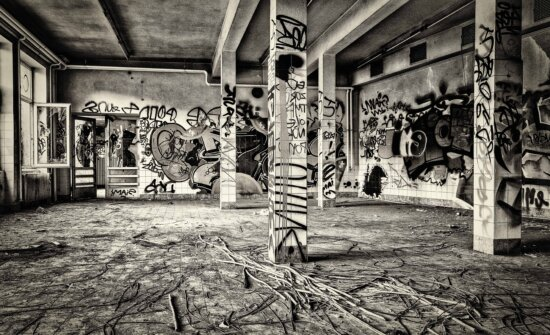 zgrade, crno-bijeli, stari, grafit, vandalizam