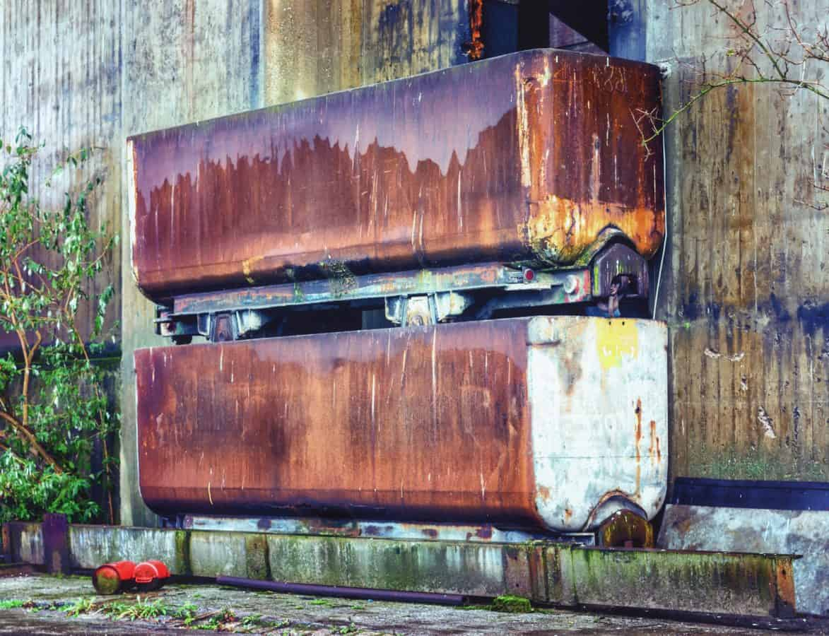 container, metal, industry, rust, wall, factory, object