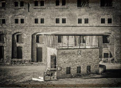 edificio, monocromo, ventana, arquitectura, ladrillo