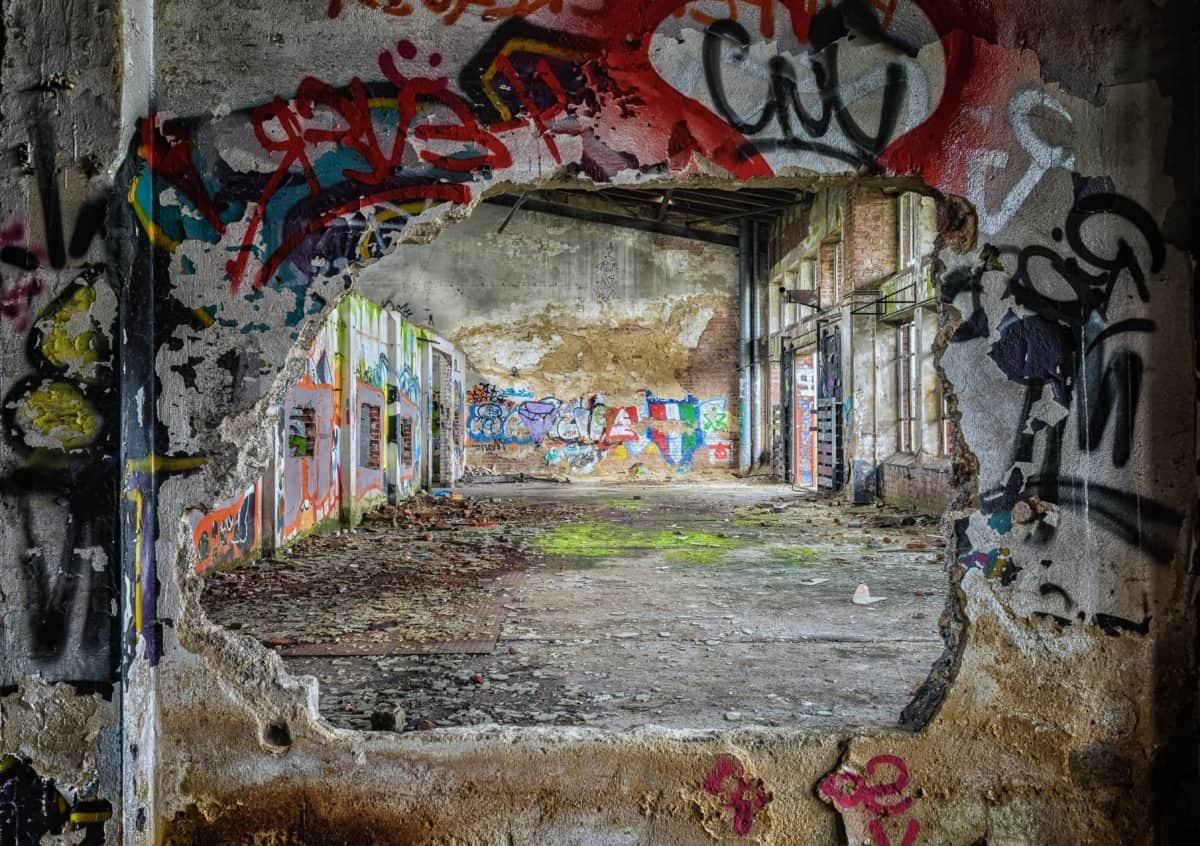Urban, Graffiti, Vandalismus, Wand, Lager, Fabrik, Industrie, bunt