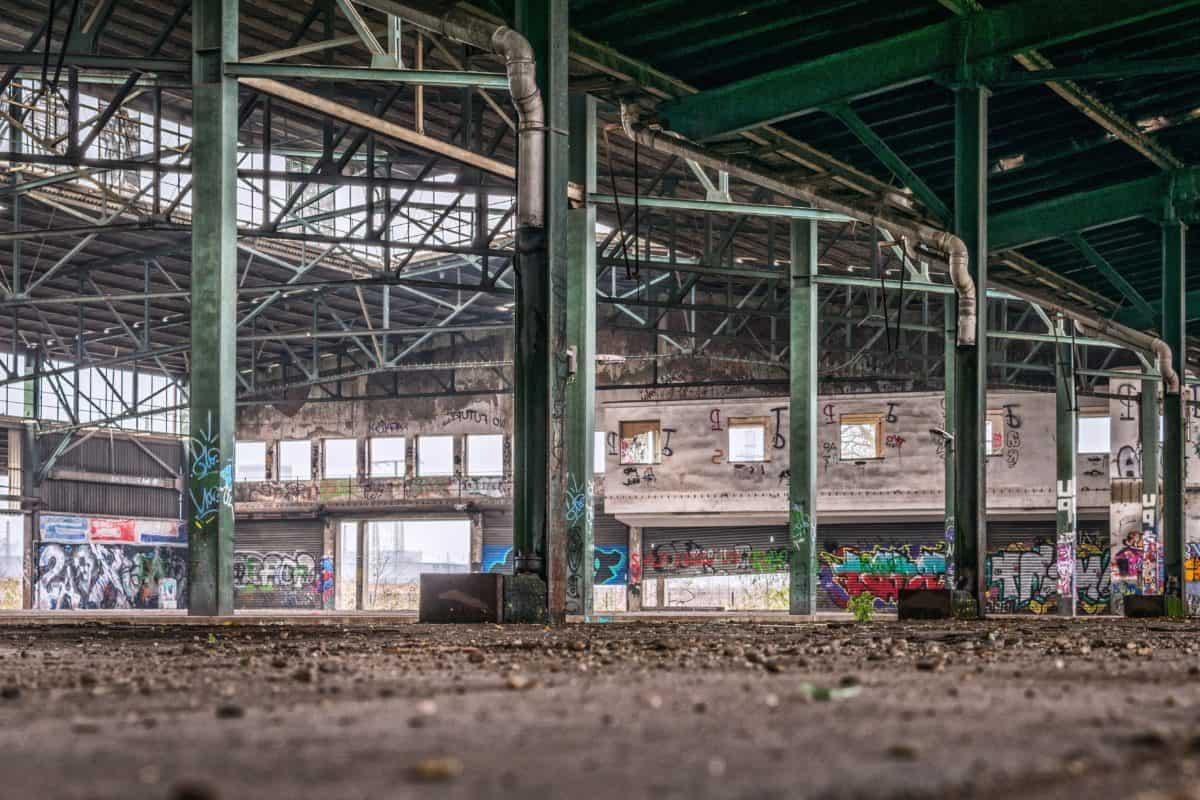 acier, industrie, entrepôt, usine, structure, architecture