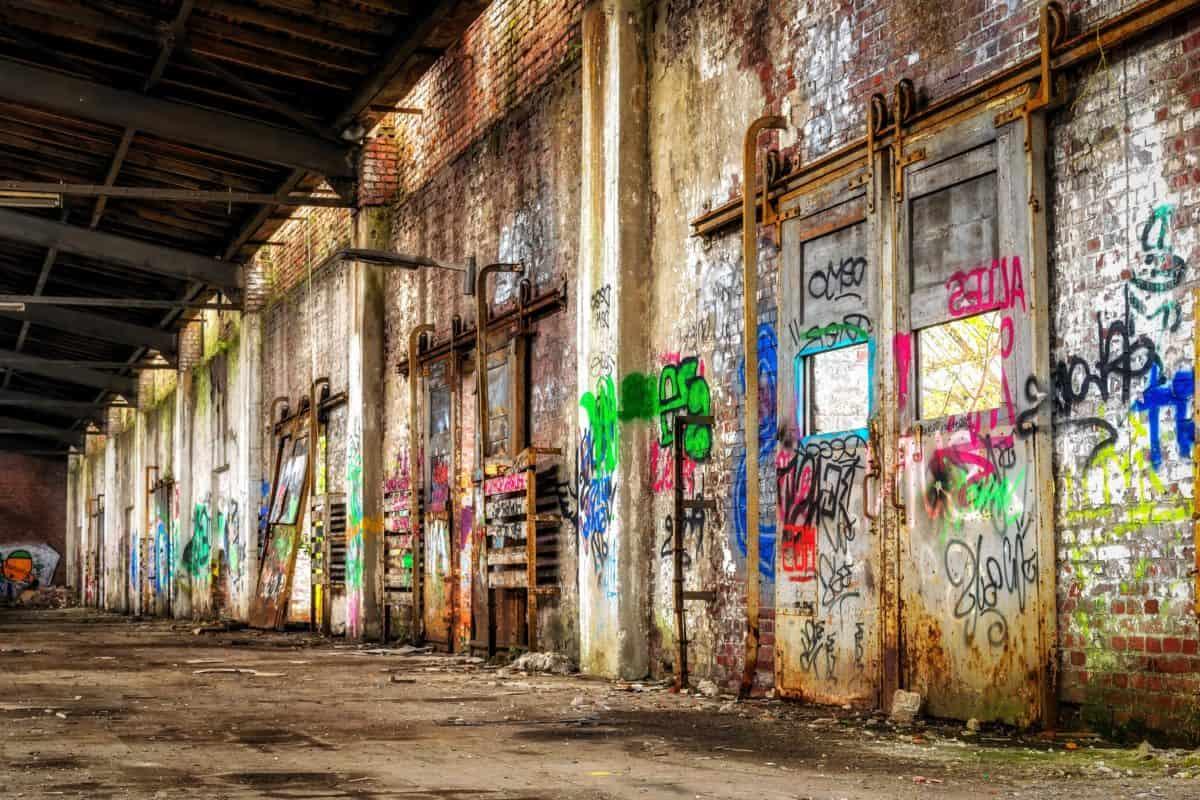 Urban, Lager, Fabrik, Industrie, Graffiti, Stadt, alte, Architektur, Straße
