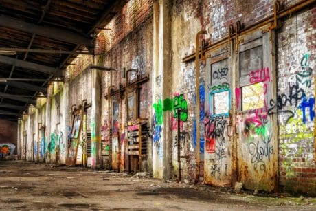 Urban, lagersted, fabrik, industri, graffiti, city, gamle, arkitektur, street
