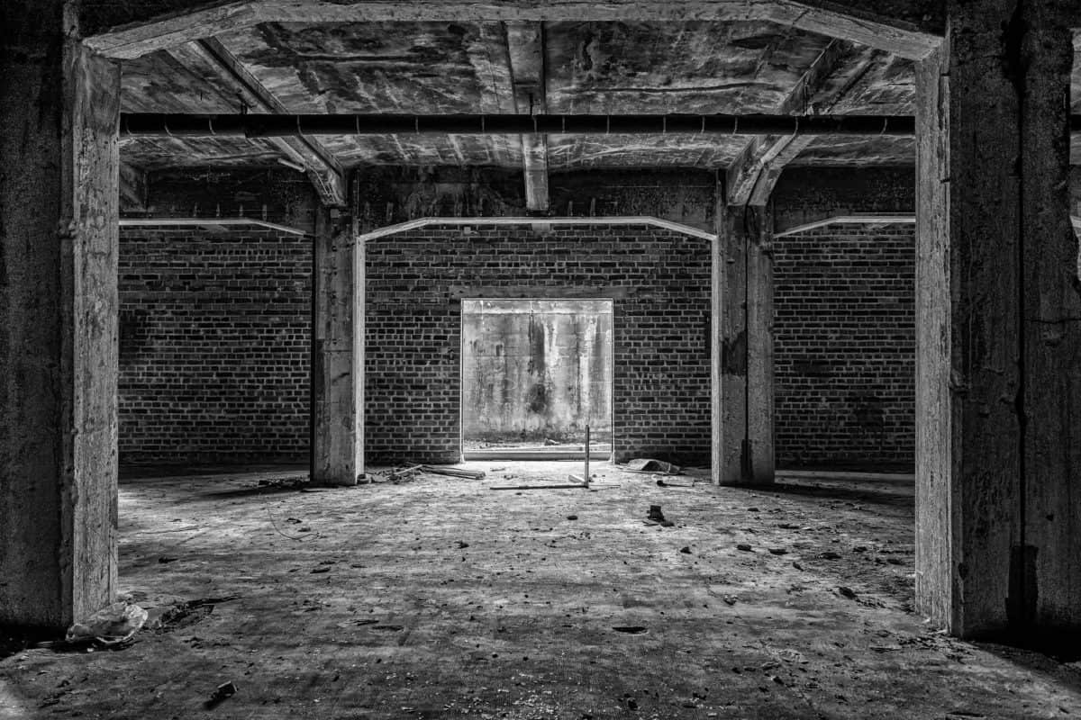 building, monochrome, architecture, brick wall, indoor, industry
