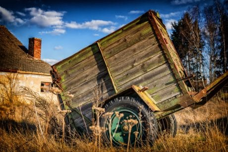 vehicle, old, wood, rustic, outdoord, cart, house, grass