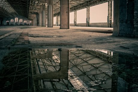 abandoned, architecture, water, reflection, construction, steel
