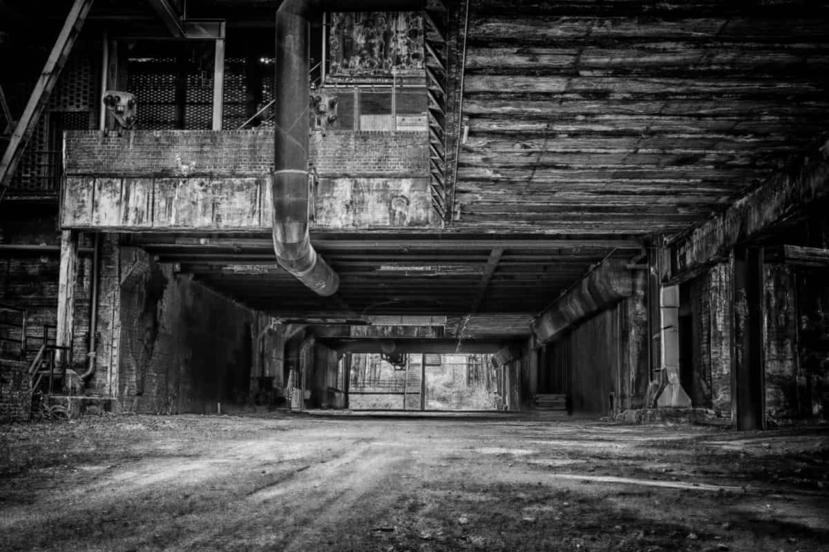 interior, concrete, building, industry, warehouse, monochrome