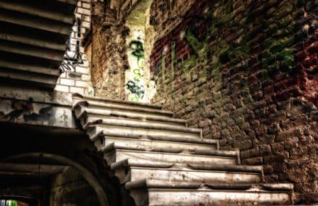 architettura, vecchie, scale, in calcestruzzo, antiche, muro, mattone, all'aperto
