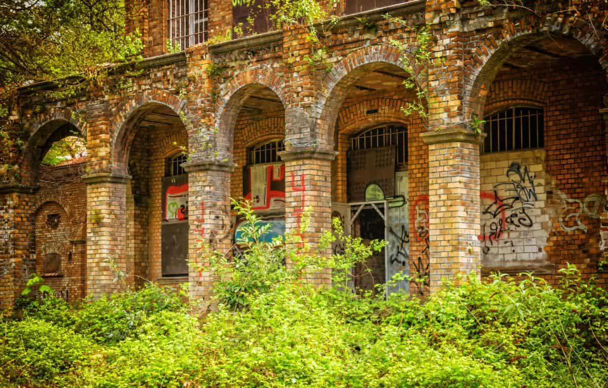 arquitectura, planta, edificio, fábrica, ruina, ladrillo