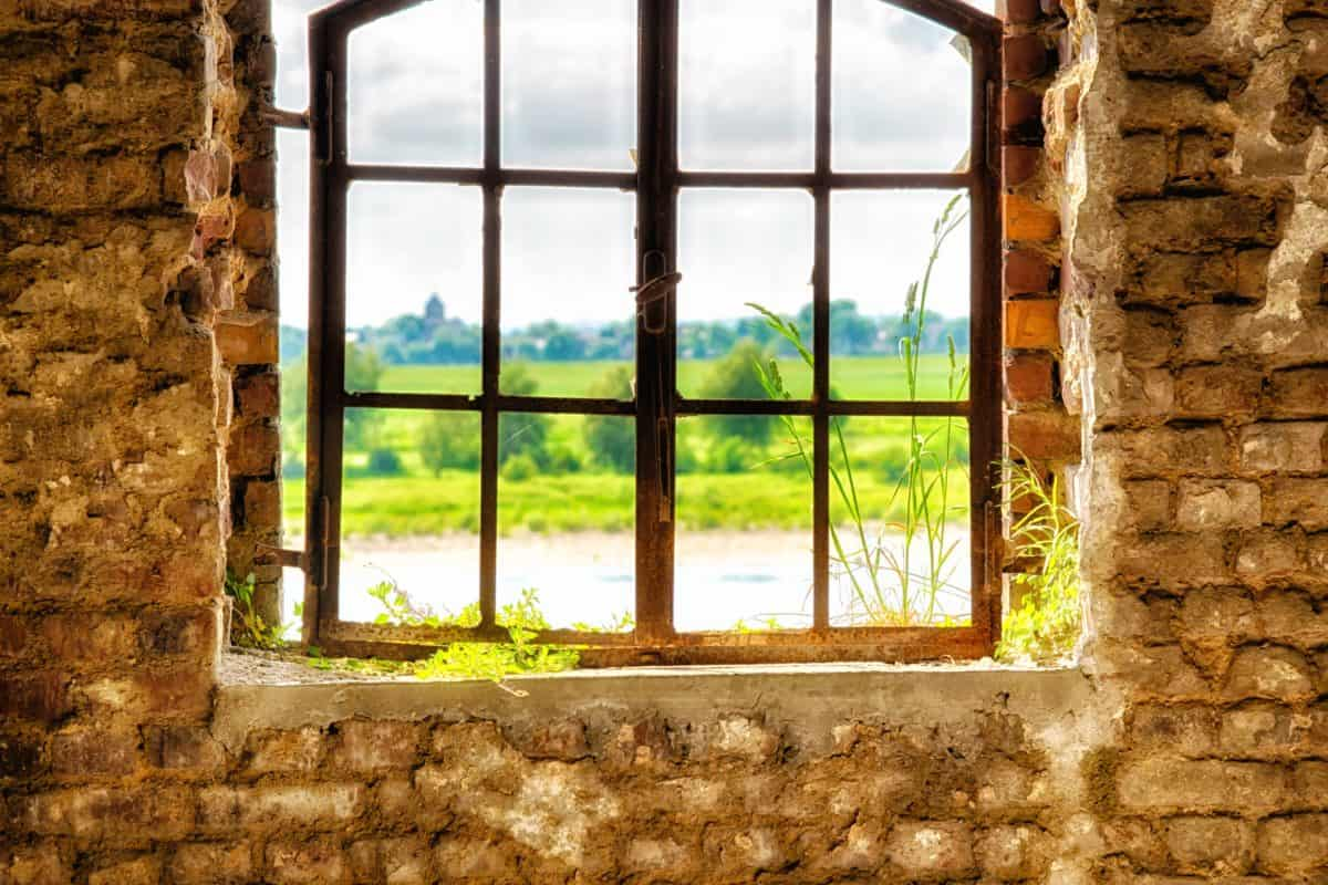 window, wall, old, meadow, brick