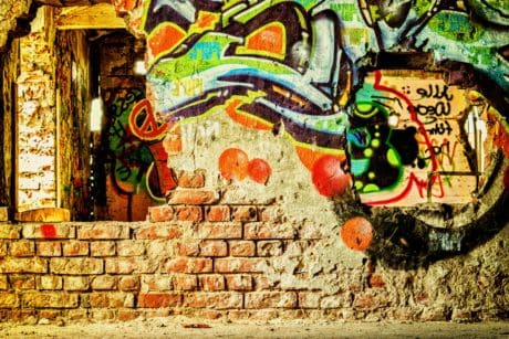 vandalism, art, wall, graffiti, mosaic