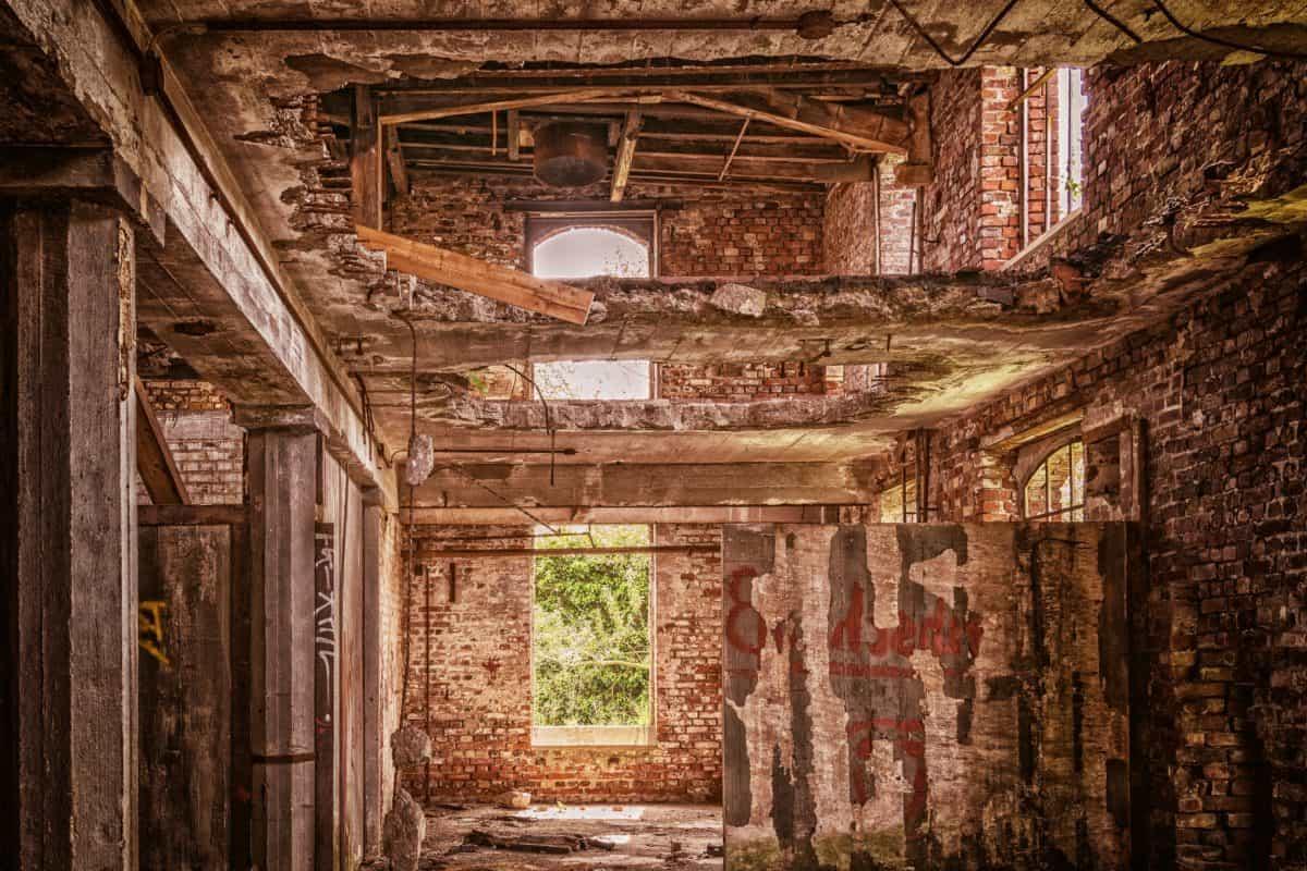arquitectura, ventana, ladrillo, almacén, fábrica, objeto, viejo, planta