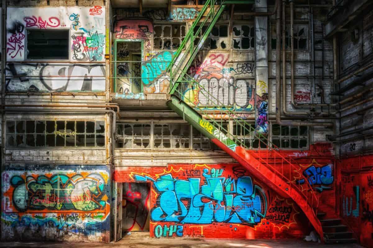 Graffiti, ville, urbain, rue, escalier, coloré, métal