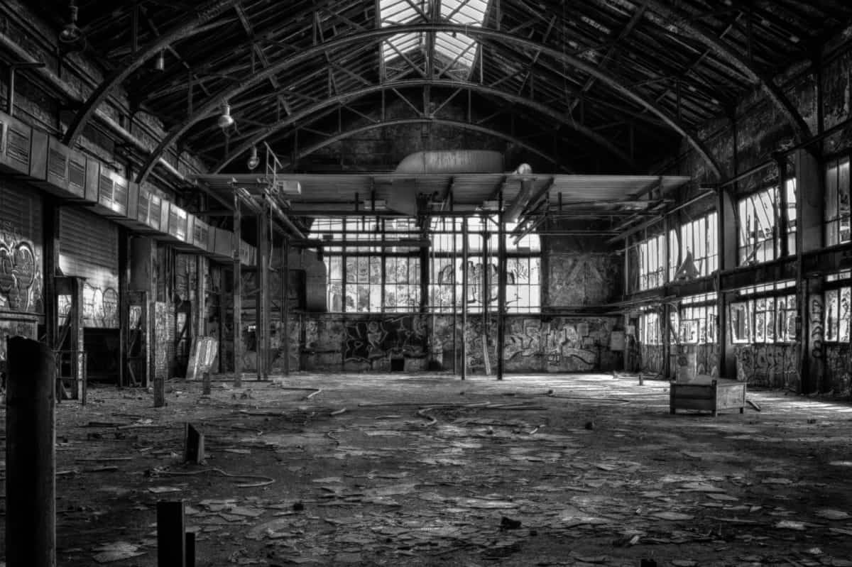 architecture, old, warehouse, factory, monochrome, window, steel, construction, building