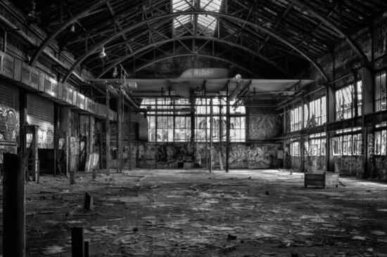 arhitektura, stari, skladišta, tvornice, crno-bijeli, prozor, čelika, gradnja, zgrada