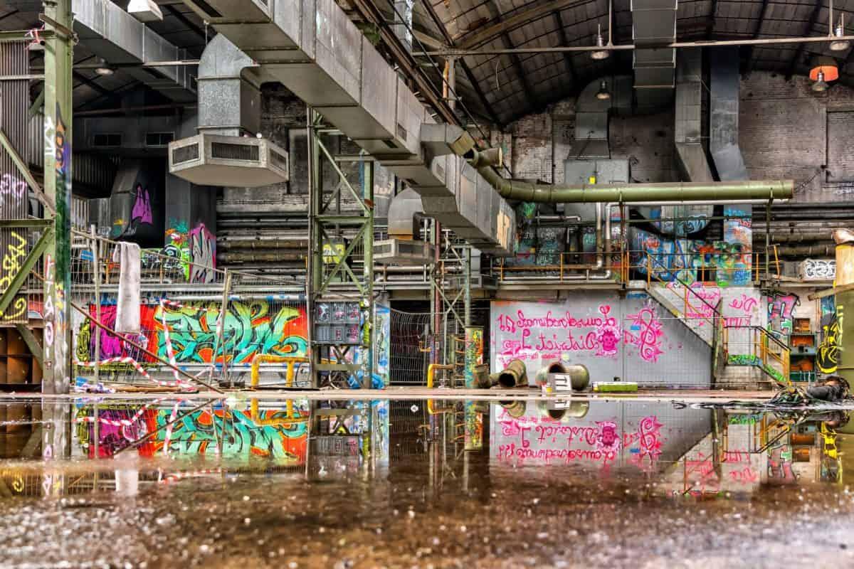 grafito, pared, construcción, fábrica, industria, ventilación, agua, reflexión