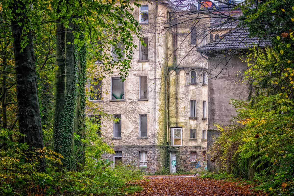 стари, дърво, строителство, архитектура, през есента, тухла