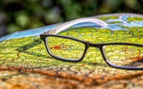 anteojos, objeto, macro, mapa, viaje, papel, ciudad