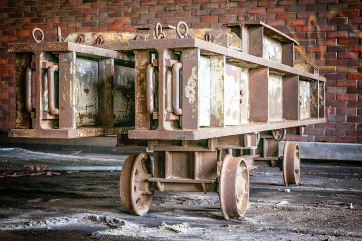 vozík, kov, kolo, ocel, zdi, průmysl, továrna, objekt