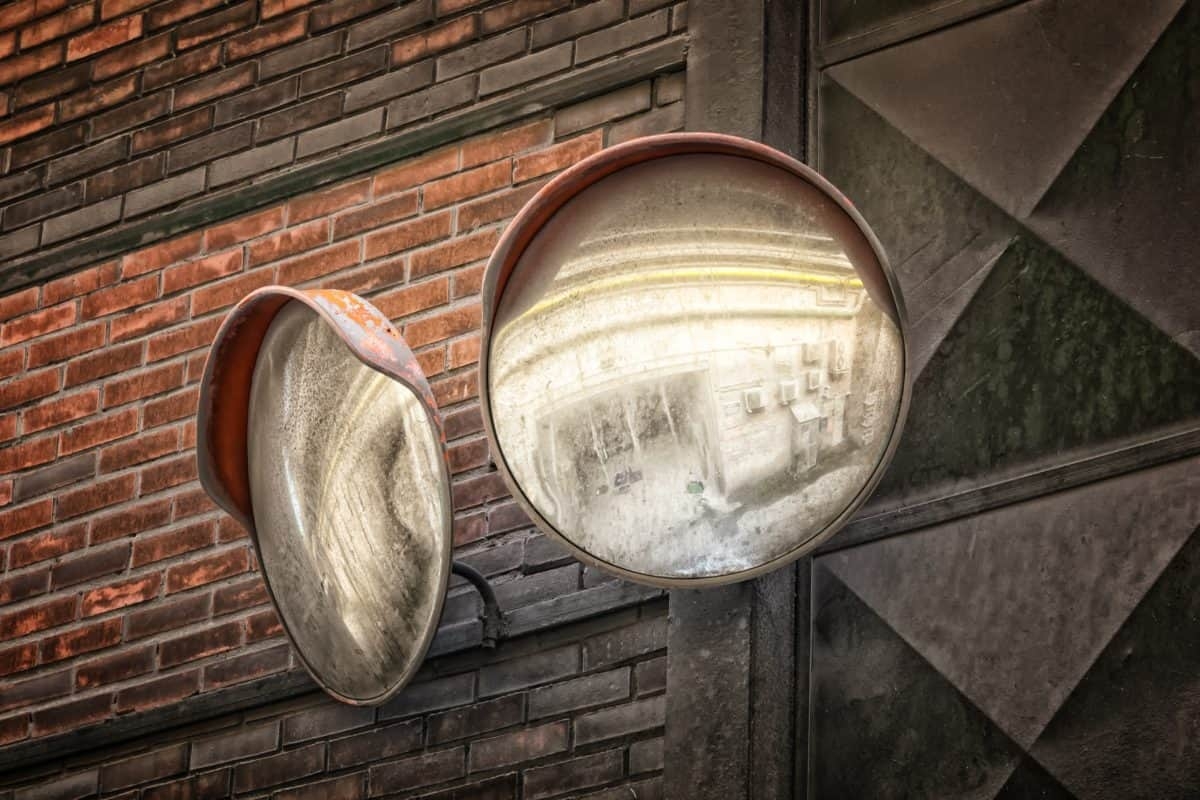 mirror, brick wall, object, street, old, architecture, wall