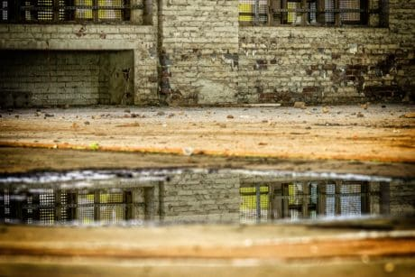 architecture, wall, old, brick, water, reflection
