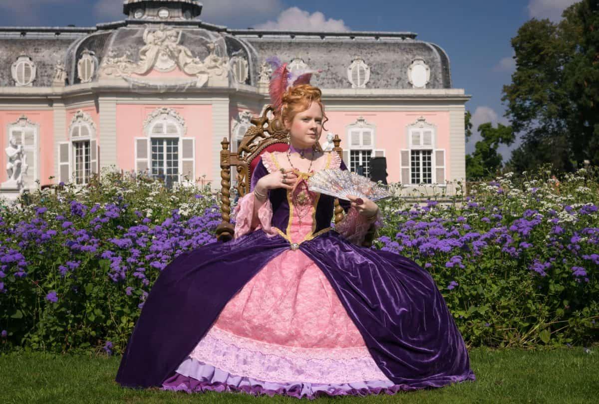 woman, dress, skirt, fashion, outdoor, grass, tree, castle, garden