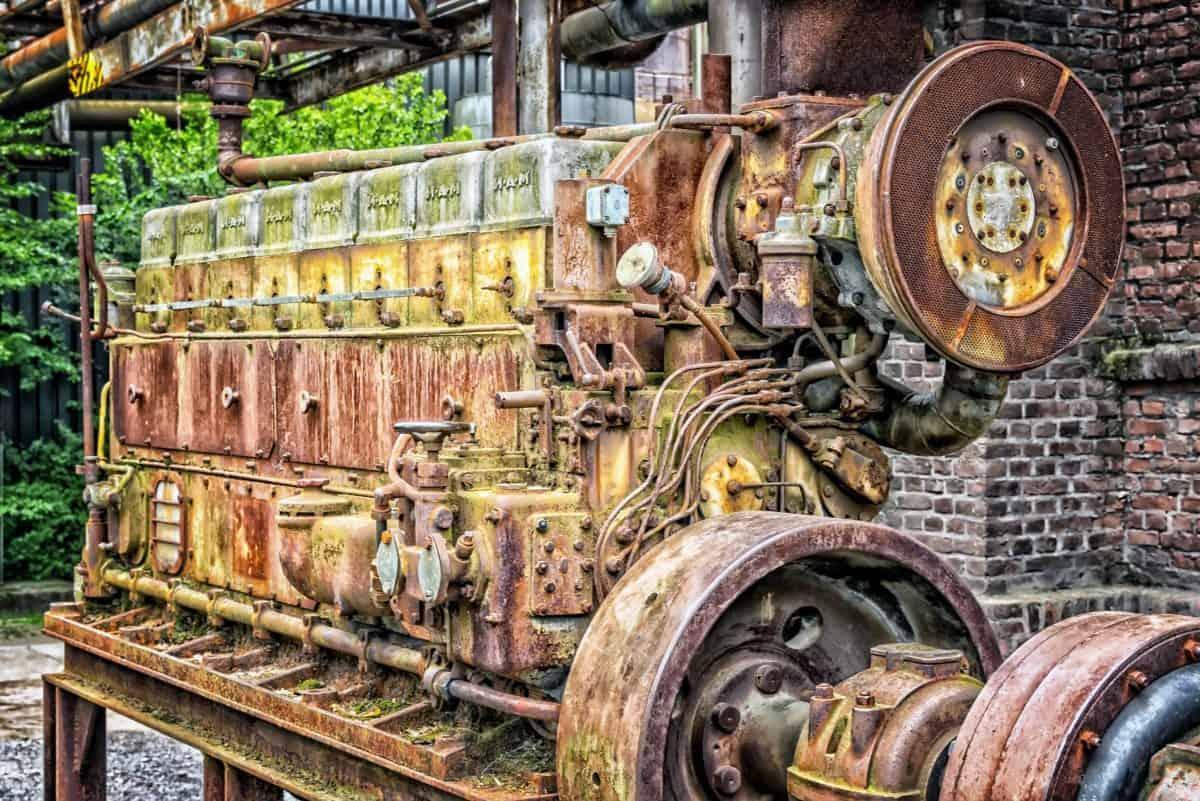 máquina, metal, motor, viejo, generador diesel