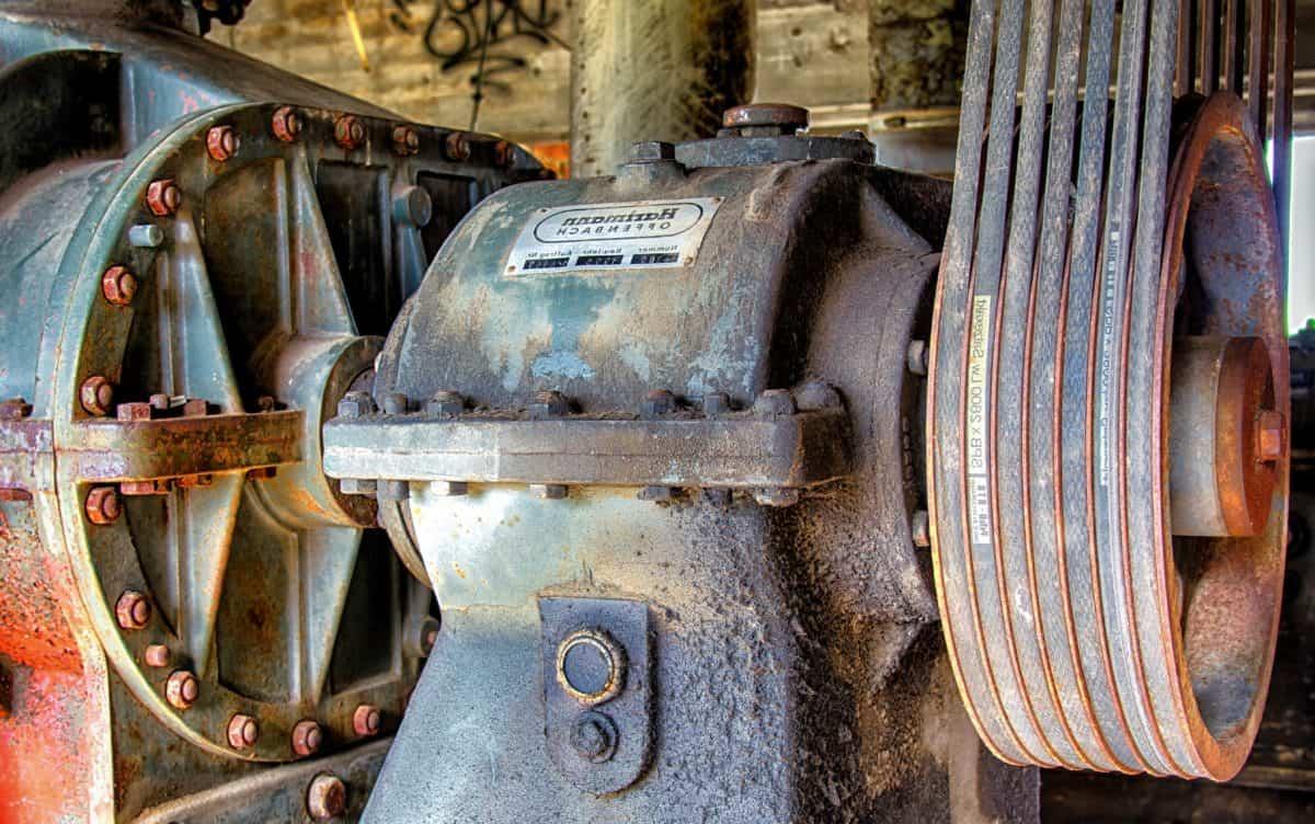 rueda, industrial, hierro, retro, máquina, acero, maquinaria, viejo