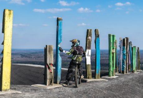 motorcycle, man, helmet, sky, landscape, daylight, motorcyclist