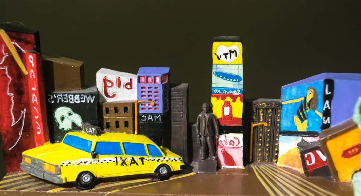 taxi, toy, figure, book, statue, car