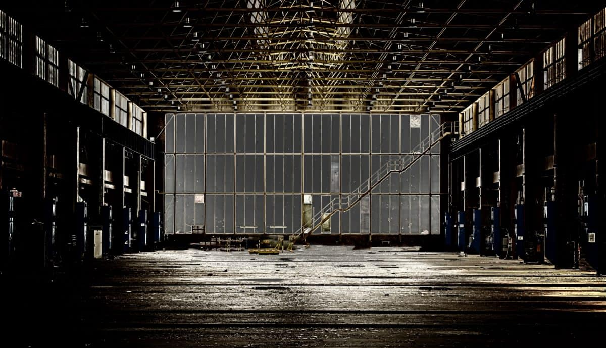 budowlane, architektura, schodów metalowych, kryty, fabryka