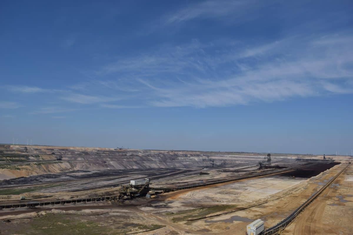 мина, въглища, промишлеността, работното място, синьо небе, пейзаж