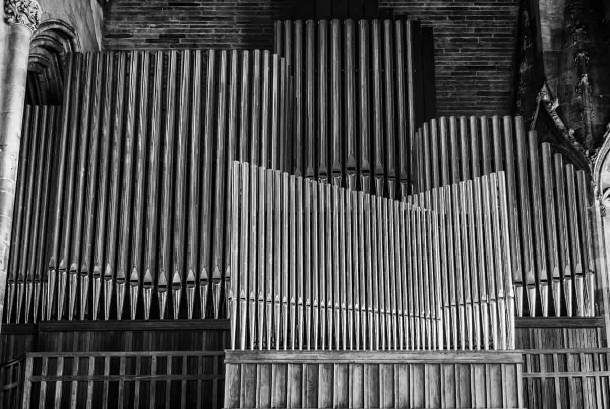 architecture, monochrome, musique, sons, orgue, métal, tube