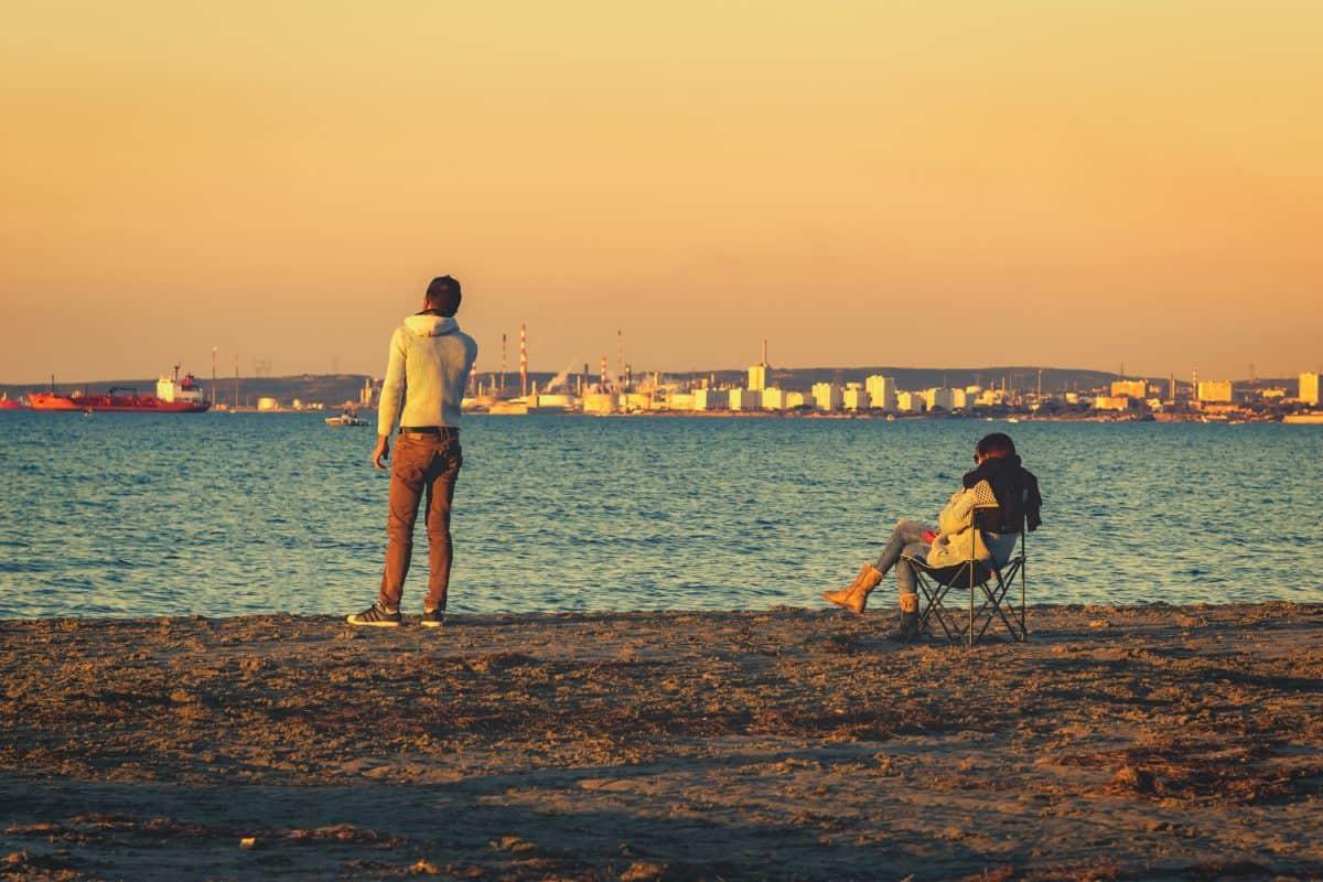 tramonto, alba, persone, spiaggia, oceano, acqua, mare, mare, sabbia