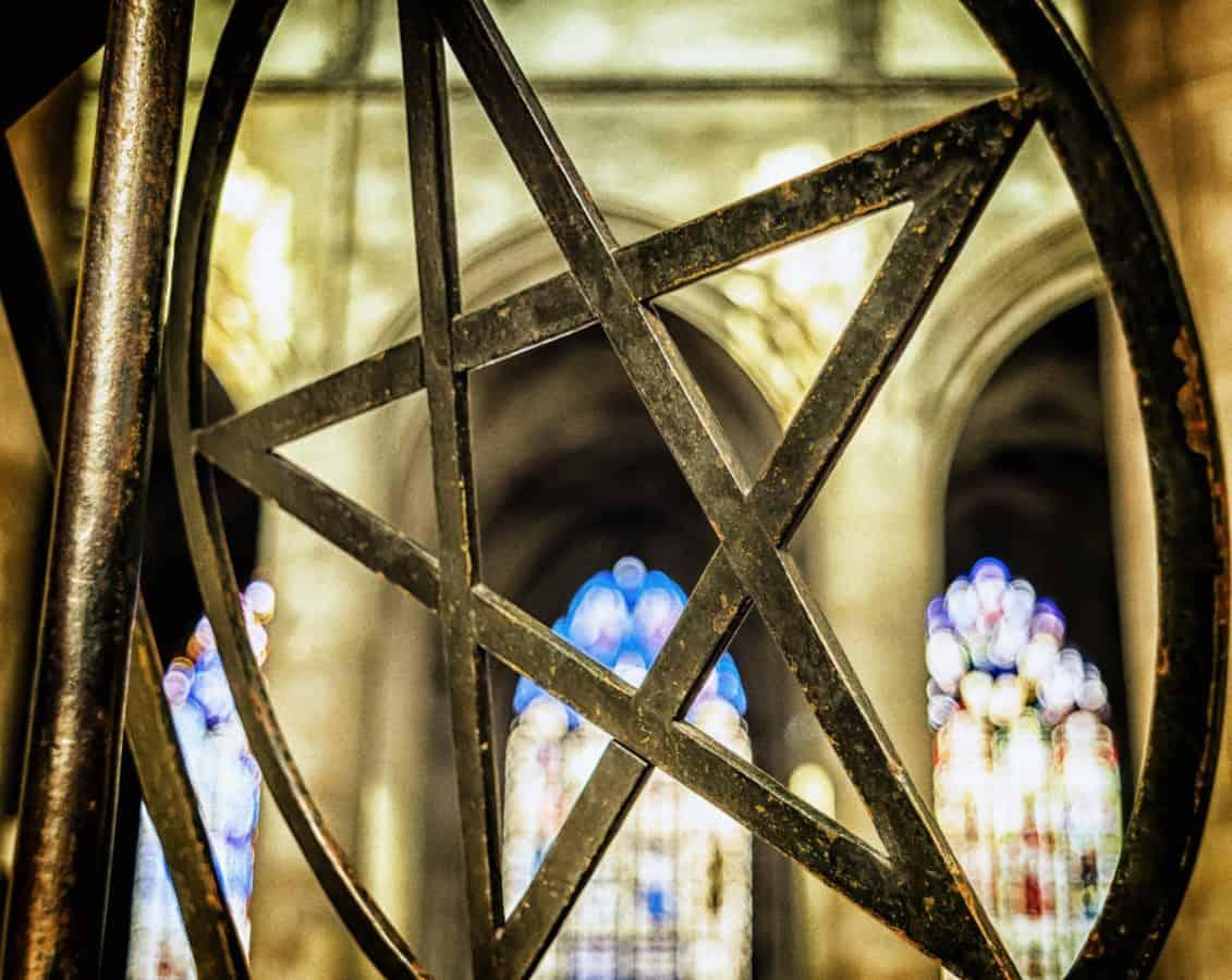 religie, metaal, ster, ijzer, pentagram, venster