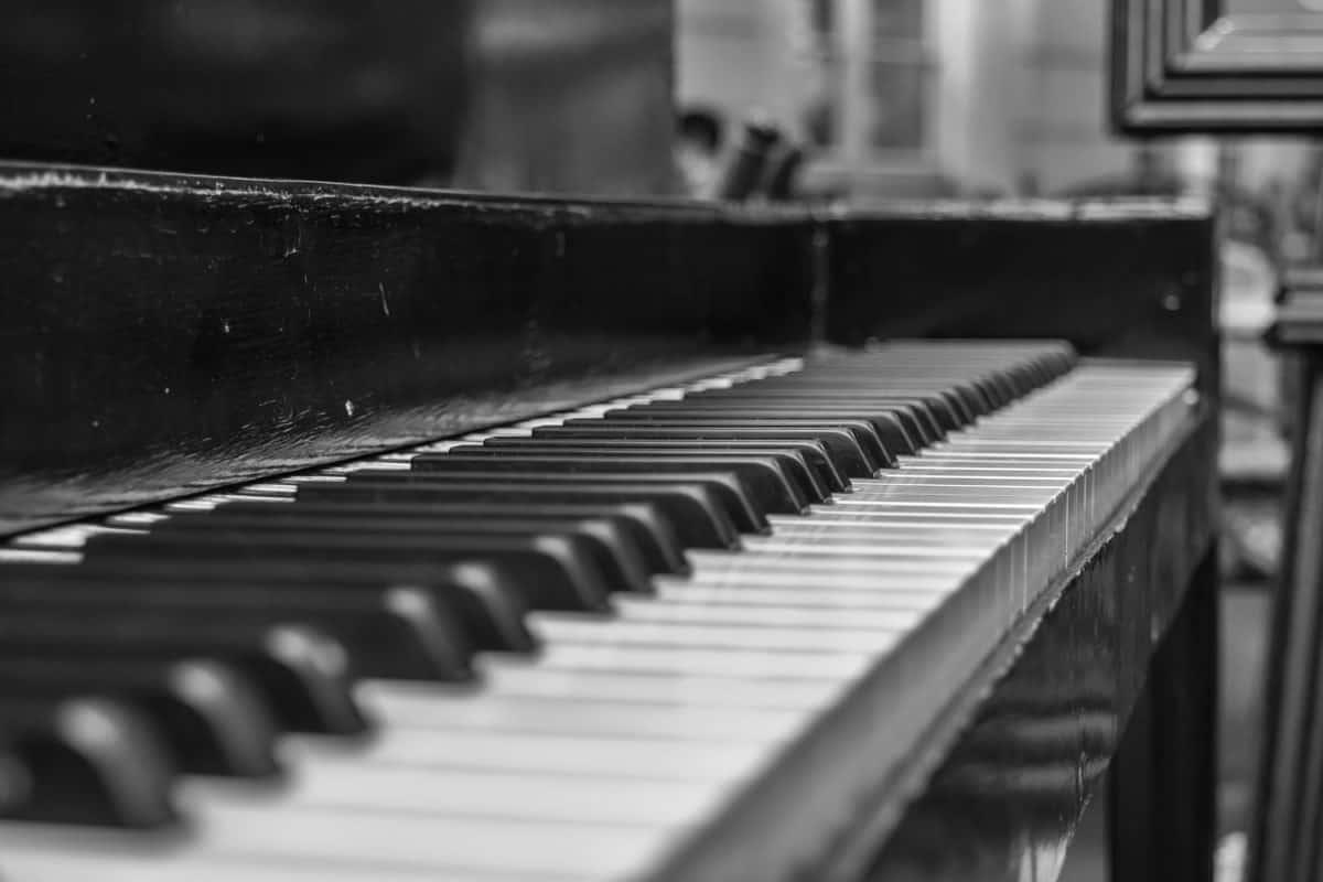 музика, звук, синтезатор, музикален инструмент, монохромен, обект, пиано