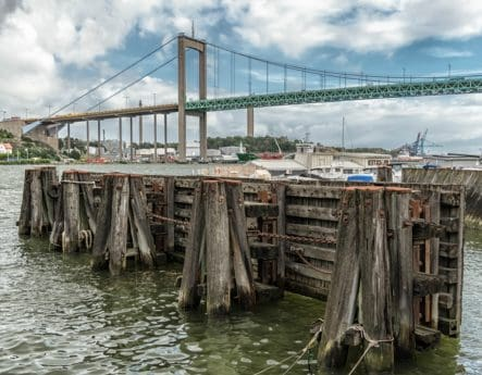 pier, sea, bridge, river, wood, water, landmark, city, landscape