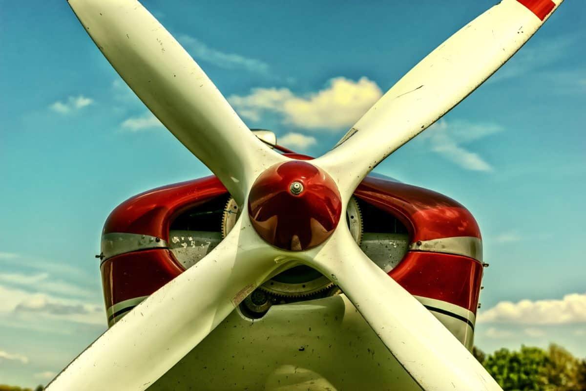 cielo azul, avión, mecanismo, propulsor, avión, motor de avión