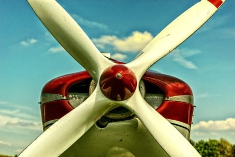 blue sky, airplane, mechanism, propeller, plane, aircraft engine