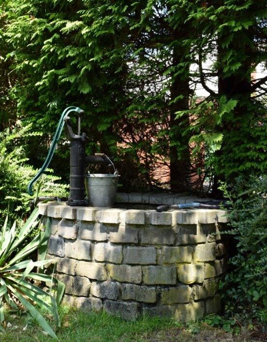 alte, Garten, Baum, outdoor, Pflanzen, Wasser-Pumpe, Garten