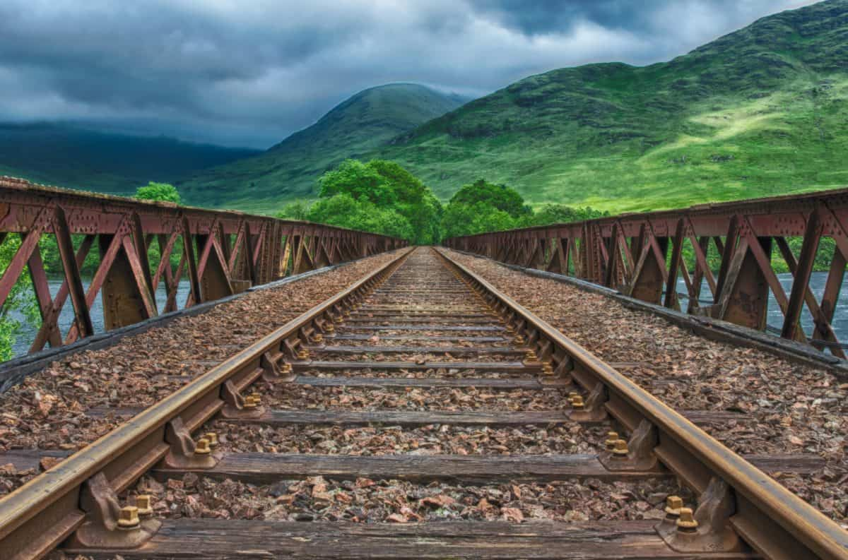 paysage, extérieur, pont, chemin de fer, chemin de fer
