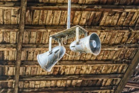 loudspeaker, object, object, roof, wood, metal, ceiling