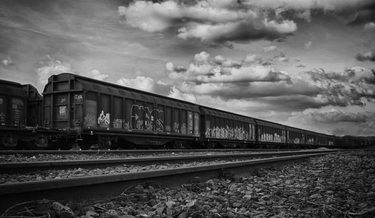 chemin de fer, train, locomotive, véhicule, monochrome, plein air